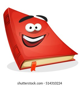 Red Book Character/ Illustration of a cartoon funny red covered book character, happy and smiling