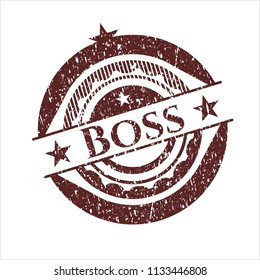 Red Boss rubber grunge texture stamp