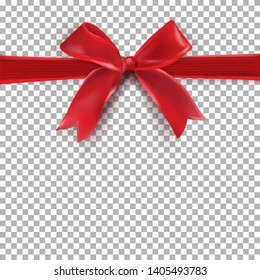 Red Bow Gift on transparent background. Gift background