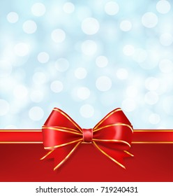 red bow with golden lines on blurry winter blue sky background. vector decorative design template background
