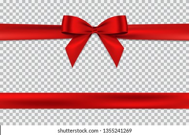 Red bow and horizontal ribbon realistic shiny satin with shadow for decorate your greeting card,wedding invitation card or website vector EPS10 isolated on transparent background.