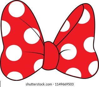 Red Bow illustration with white spots