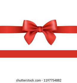 Red Bow Isolated With Gradient Mesh, Vector Illustration