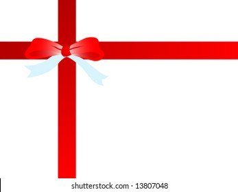 Red bow isolated on white background - vector illustration