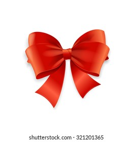 Red Bow Isolated on White Background. Vector illustration