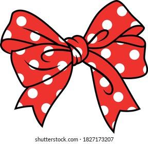 red bow polka dots vector illustration