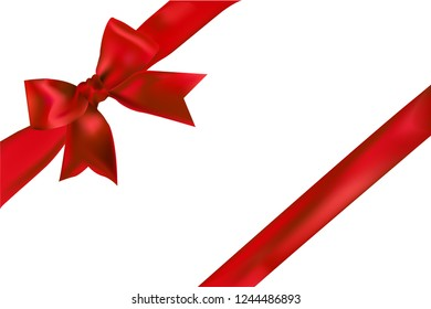 Red bow with ribbon.
