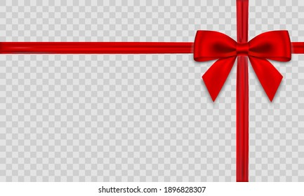 Red bow with ribbon on transparent background