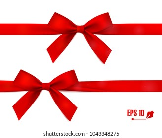 Red bow with ribbon. Vector.