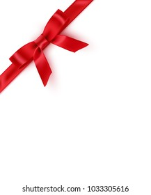 Red bow and ribbon. Vector realistic design template.