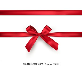 Red bow and ribbon. Vector realistic design element