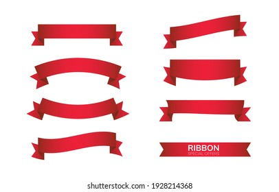 Red bow ribbons flat style icon symbol isolated on white background vector illustration.