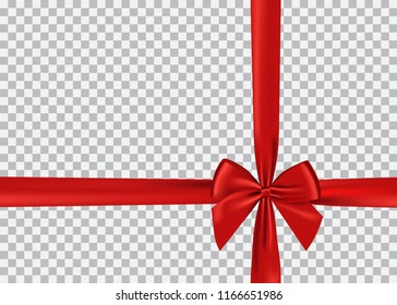 Red bow shiny satin and ribbon realistic vector for decorate your greeting card, gift or website,isolated on transparent background.