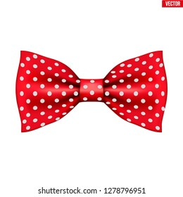 Red bow tie on a white background. Symbol of nanny and babysitter.
