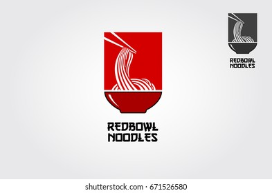 The Red bowl Noodles logo templates, suitable for any business related to ramen, noodles, fast food restaurants, Korean food, Japanese food or any other business on a red background