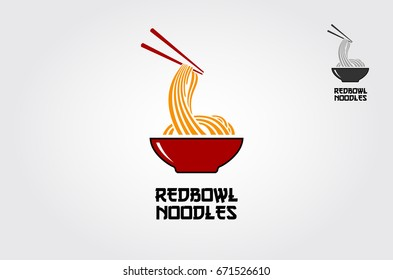 The Red bowl Noodles logo templates, suitable for any business related to ramen, noodles, fast food restaurants, Korean food, Japanese food or any other business on a white background.