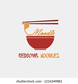 Red bowl noodles logo. Vector illustration.