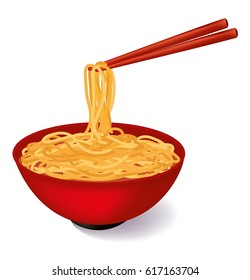 Red bowl of noodles soup with red chopstick