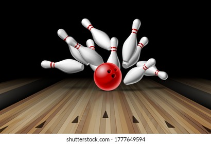 Red Bowling Ball crashing into the pins on bowling alley line. Illustration of bowling strike. Vector Template for poster of Sport competition or Tournament.