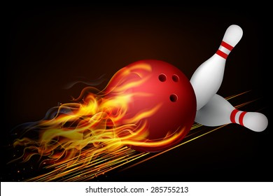 Red Bowling Ball in Flames on a Dark Background. Vector illustration