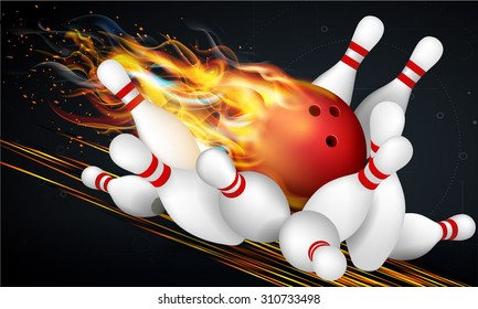 Red Bowling Ball in Flames on a Dark Background and Skittles at the End of the Track. Effective vector illustration for your design.