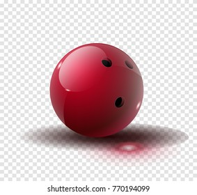 Red Bowling Ball isolated on transparent background. Vector illustration. Vector illustration