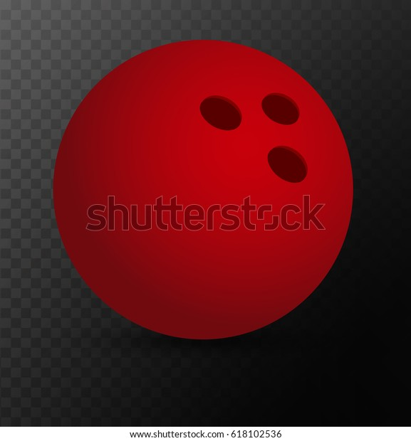 Red Bowling Ball On Transparent Background Stock Vector