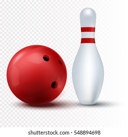 Red bowling ball and skittle Isolated on a transparent background. Vector illustration