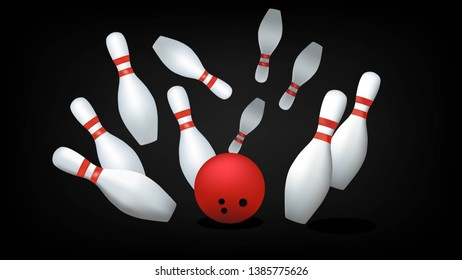 Red bowling ball and skittles isolated on a black background. Vector illustration