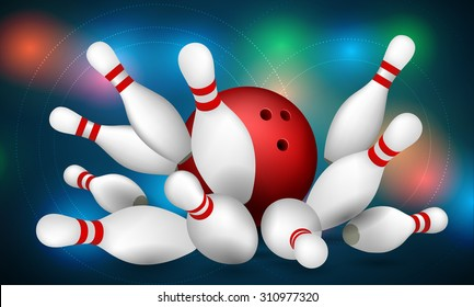Red Bowling Ball  and Skittles. Strike. Vector illustration for your design.