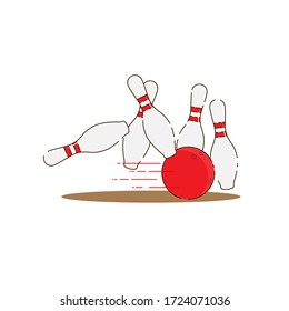 Red bowling ball strike with falling pins flat vector design isolated from white background.
