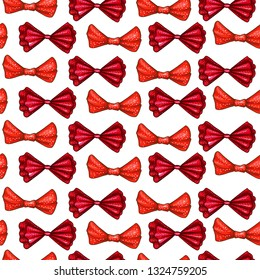 Red bows hand drawn color seamless pattern. Ribbon gift knots cartoon texture. Bowknots flat contour cliparts. Bow-ties in dots doodle sketch background. Wallpaper, wrapping paper festive design