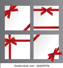 Red Bows, Red Ribbon Vector
