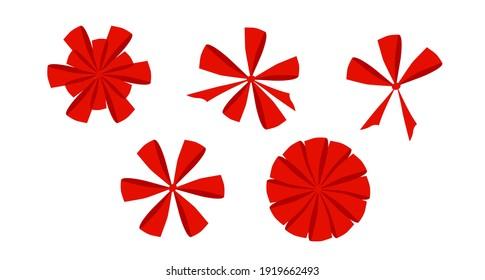 Red bows. Vector festive illustration.