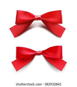 Red bows. Vector illustration on white background. Can be use for decoration gifts, greetings, holidays, etc.