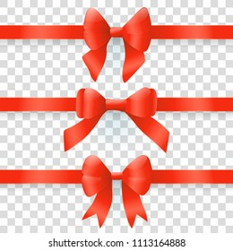 Red bows. Vector set of design elements