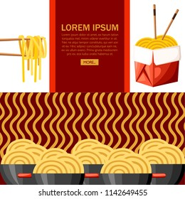 Red box with ramen noodles. Asian food. Black bowl with red handle. Big group of bowls with noodles. Flat vector illustration on textured background. Concept design for website or advertising.