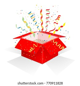 Red box with serpentine and confetti. Gift wrapping with surprise, unexpected explosion and festive mood. A gift for Christmas and New Year. Isolated on white background. Vector illustration.