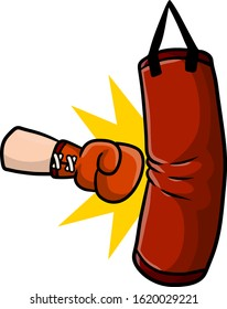 Red Boxing glove. Punch the punching bag. Fight and hit. Training and championship. Cartoon drawn illustration. Sports inventory and equipment
