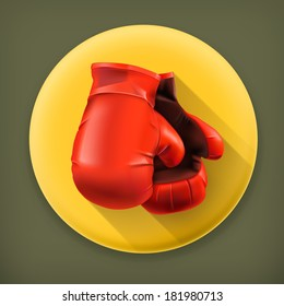 Red boxing gloves, long shadow vector icon