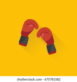 Red boxing gloves vector illustration. Flat illustration of fight.