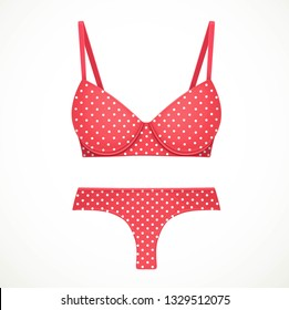 c19e62c549c ... shapely polka dotted bikini bathing suits. Red bra and thong panties in  a white polka dot pattern objects isolated on white background
