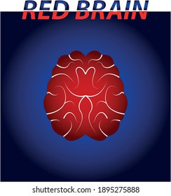 red brain on blue background vector