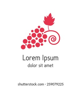 red branch of grapes like wine house logotype. concept of winegrowering, liquor store, selling alcohol. isolated on white background. flat style trendy modern brand design vector illustration
