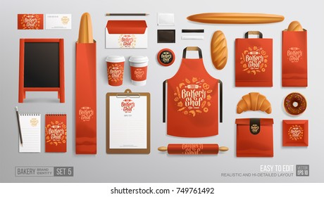 Red Branding identity Mockup set for Bakery shop, Cafe. Corporate style Bakery food package mockup. Realistic MockUp set of logo, uniform, street menu advertising board, plastic cup, apron, paper bag