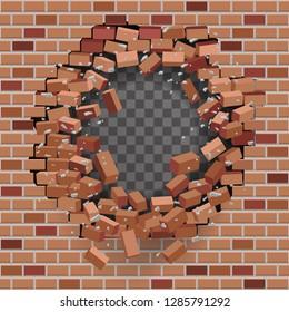 Red brick break wall hole destruction transparent template background vector illustration