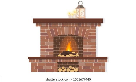 Red brick fireplace with firewood and fire. The element of the interior living room. Vector illustration.