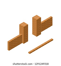The red brick passage through the fence in isometric view. Part of the gate and door. Construction of buildings and walls. The barrier to entry.