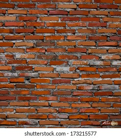 Red brick wall background. Vector illustration.