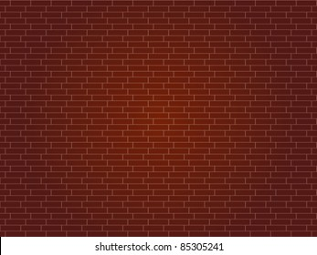 Red brick wall background - vector